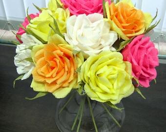 Ivory yellow pink roses arrangement/ Paper flower/ Bridal bouquet/ Wedding decor/ Bridal shower/ Floral centerpiece/ Birthday party decor