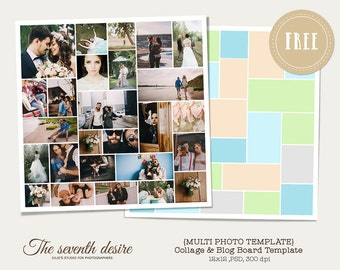 FREEBIE - Multi Photo Template - 12x12 - 900 px - Marketing Board - Photoshop Template - Blog & Collage Template - INSTANT DOWNLOAD