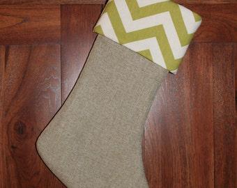 Chevron Green Christmas Stocking, Personalized Monogram Stockings