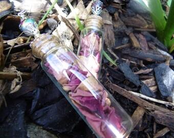 Red rose petal bottle charm
