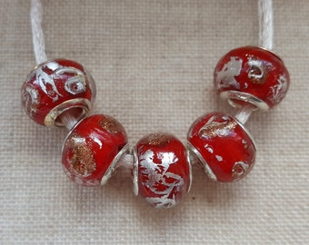 Red Murano Beads X 5. Red Glass Beads.  Red Lampwork Beads.  European Bracelet Style. UK Seller