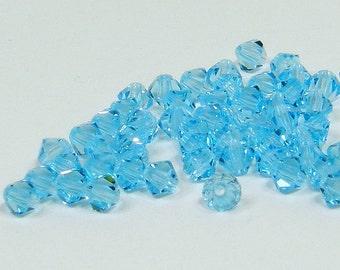 4mm Bicone Crystals, Aqua Bohemica, 25 count