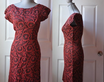 SALE - Vintage 1950s dress | red and black lace wiggle dress • Amor dress