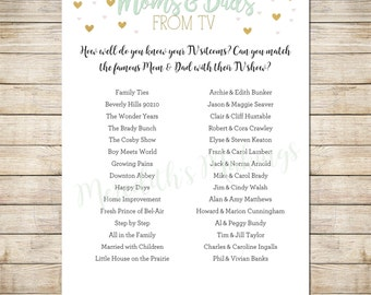 Gender Neutral Baby Shower Games - TV Sitcom Parents Matching Game