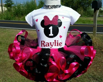 1st birthday pink and black Minnie Mouse tutu set