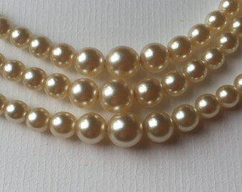 Vintage Pearl Beads Graduated Three Strand Necklace with Clear Stone Metal Box Clasp/1950s/Wedding necklace/Faux Pearl Necklace