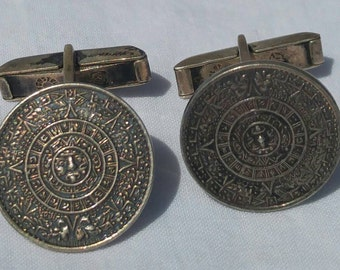 Retro Mayan calendar sterling silver cuff links