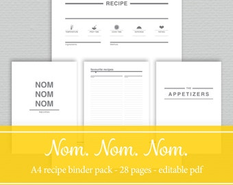 A4 Recipe Binder Printables - Editable PDF - by SassyPlanners