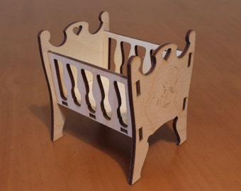 Doll cradle - toy cradle - Cradle for doll - bed for doll - doll furniture - doll house - wooden cradle