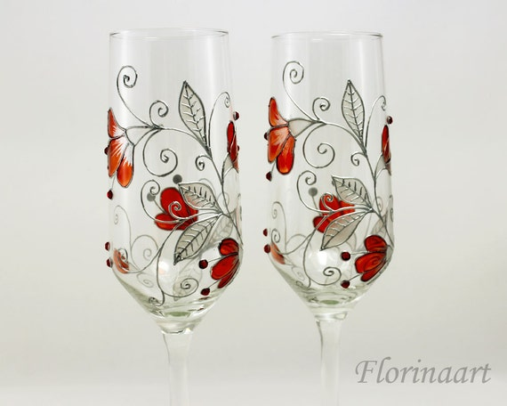 Ruby Wedding Anniversary Gifts: Ruby Red Anniversary Glasses 40th Wedding Anniversary Gift