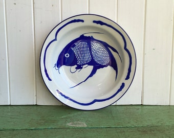 Vintage Enamel Plate/Shallow Bowl Fish Design Blue and White