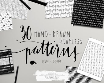 20% OFF Seamless Hand Drawn Digital Papers, Black and White  - 10 Digital Free Hand Doodle Patterns - (300dpi 12x12 - JPG) Instant Download