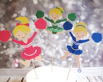 3 Set Cheerleader Themed Centrepiece/Cake Toppers, Cupcake, Cake, Toppers, Picks, Party Picks