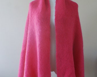 Spanner 1980's Vintage Pink Mohair Blend Shawl/Long Scarf Retro Size Medium 63 x 23 Inch M-823