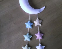 Felt Moon and stars baby mobile