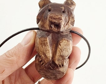 Hand Carved Totem Necklace, Bear of Love