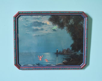 Vintage Upcycled Reclaimed Art!! Mid Century Ocean With PINK SWIMMING DOGS!
