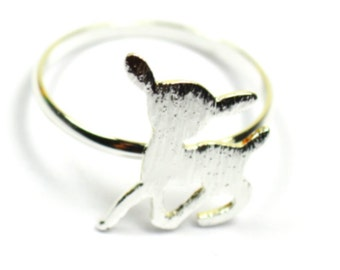 Silver Plated Deer Ring