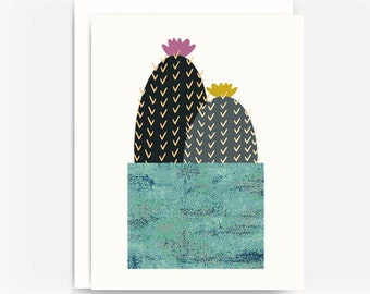 Cactus Note Card No. 4, Southwest Style Note Card, A2 Note Card, Blank Greeting Card, Choose a Single Card or Set of 4