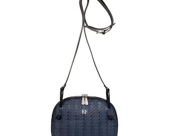 Leather Cross body Bag, Dark blue Leather Shoulder Bag, Women's Leather Crossbody Bag, Leather bag KF-491