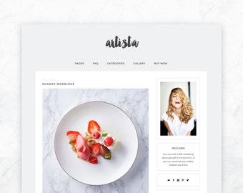 Responsive Self-Hosted Wordpress Theme: ARTISTA - modern premade blog template, minimalist