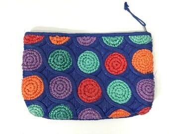 Vintage Rafia Polka Dot Clutch - Anthropologie Style - Straw Clutch - Blue - Green - Red - Orange - Purple
