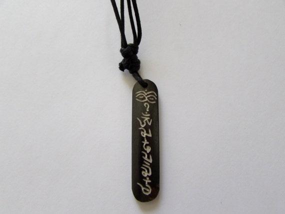 Adjustable Wax cord Om Mane Padme Hum Buddahs Eyes Yak bone necklace handmade hand carved Unisex Tribal beads Yoga Yogi Free UK Delivery