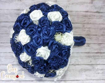 "Alternative bouquet ""Ribbon Roses"" with blue and white satin roses and pearls"