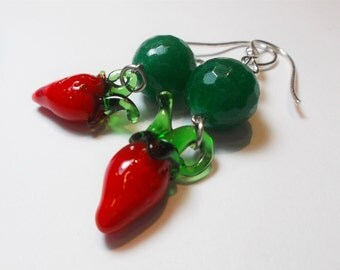 Earhook Green agate with red peppers