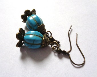 Bohemian bronze tone dangle earrings gemstone turquoise wonderland