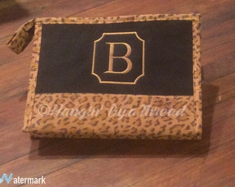 Cosmetic Bag Monogrammed Case Leopard Suede Bridesmaid Gifts Hangin' By a Thread