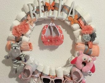 Baby Girl Diaper Wreath-Baby Shower Decor-Custom Theme-Custom Name-Baby Gift-Baby Shower Gift-Baby Girl-Baby Shower-Monogram-Nursery Decor