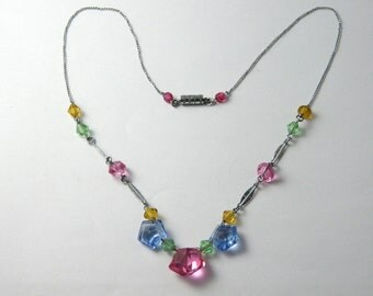 Antique Art Deco Pastel Glass Necklace