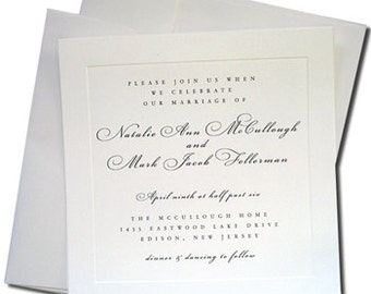 """25 Square Double Wedding Envelope Sets - White or Cream Outer & Inner Envelopes - 6 3/4"""" + 6 1/2"""" Square Set - CLEARANCE"""
