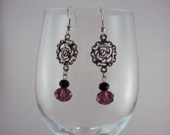 Rose Dangles with Mauve & Black Crystal