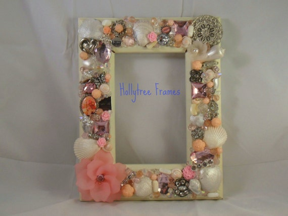 Jeweled Pink and Silver Hand Decorated Frame 4x6inch