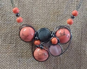 Coral and gray necklace