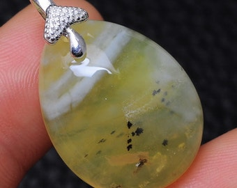 Natural Yellow Opal sterling silver pendant ( #J1556)