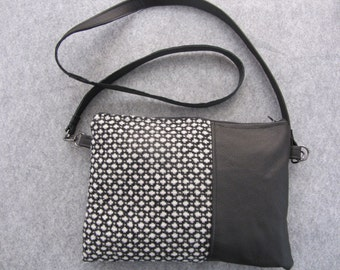 satchel bag, hip bag, leather bag, crossbody bag - black soft leather - black and white wool fabric -