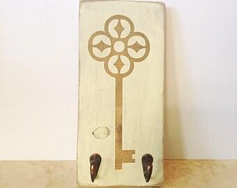 Wood Sign with Wall Hooks -Key Hook