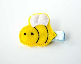 Bumblebee felt embroidered hair clip