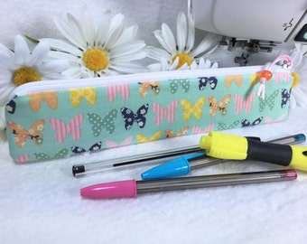 Colorful Butterflies Pencil Pouch Slim Pencil Case Seafoam Green Cute Zipper Bag Long Pencil Pouch Back to School