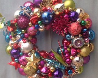 Retro Christmas ornament wreath.  Spectacular jewel tones.