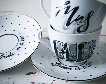 Hand painted set of 2 Wedding tea cups - Mr and mrs, Bride and groom in black and silver