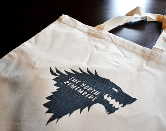 Game of Thrones || Game of Thrones Tote Bag || The North Remembers || Game of Thrones Bag || Stark Bag || House Stark
