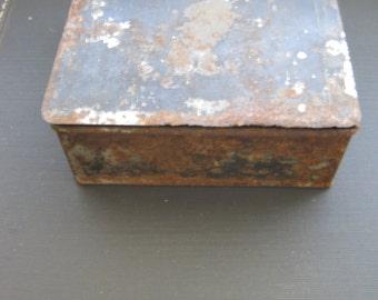"Rusty old black metal 5.5"" x 5.5"" metal box"