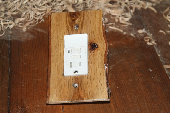 Red oak gfci outlet cover plate