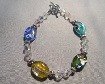 Czech Foil Glass Beaded Bracelet