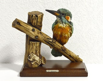 Giuseppe Armani Kingfisher Figurine- 1984 Hand Painted Collectible Figurine, G. Armani Capodimonte Bird Statuette Made in Italy