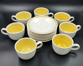 Vintage 1960's Franciscan Hacienda Gold Saucer & Cup Set Mid Century Modern Dinnerware Service For 7 Excellent Original Condition MCM